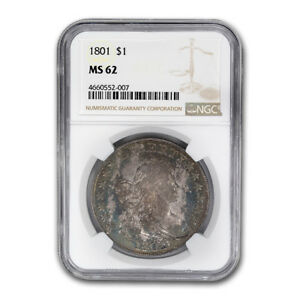Click now to see the BUY IT NOW Price! 1801 DRAPED BUST DOLLAR HERALDIC EAGLE MS 62 NGC   SKU170104