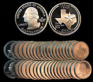 Click now to see the BUY IT NOW Price! 2004 S TEXAS STATEHOOD 90  SILVER QUARTER PROOF ROLL OF 40 COINS