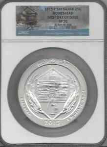 2015 P HOMESTEAD 5 OZ SILVER 25C SP 70  FIRST DAY OF ISSUE ATB
