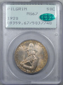 Click now to see the BUY IT NOW Price! 1920 50C PILGRIM SILVER COMMEMORATIVE PCGS MS67 1ST GENERATION RATTLER CAC WOW