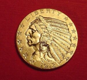1913 P $5 GOLD INDIAN HEAD FIVE DOLLAR HALF EAGLE RECENT ESTATE FIND