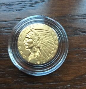 1915 GOLD INDIAN HEAD.  $5 HALF EAGLE IN STUNNING AU CONDITION    EBUCKS BONUS