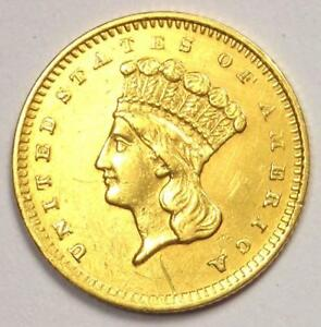 1860 S INDIAN DOLLAR GOLD COIN  G$1    SHARP AU DETAILS    DATE