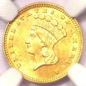 1887 INDIAN GOLD DOLLAR COIN G$1   CERTIFIED NGC UNCIRCULATED DETAILS  UNC MS
