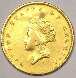 1854 TYPE 2 INDIAN DOLLAR GOLD COIN  G$1    AU DETAILS    TYPE COIN