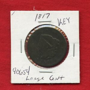 1817 CORONET HEAD LARGE CENT 1C 90654 $ NICE COIN US MINT  KEY DATE ESTATE