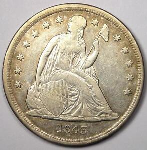 1843 SEATED LIBERTY SILVER DOLLAR $1   XF DETAILS    EARLY TYPE COIN