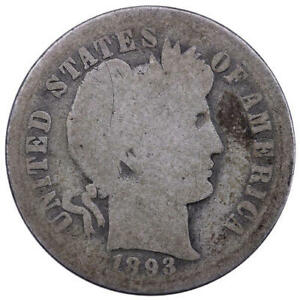1893 O BARBER DIME 90  SILVER ABOUT GOOD AG