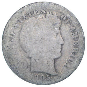 1905 O BARBER DIME 90  SILVER ABOUT GOOD AG