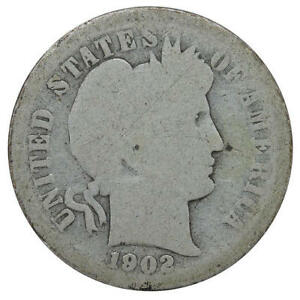 1902 O BARBER DIME 90  SILVER ABOUT GOOD AG