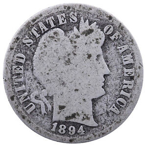 1894 BARBER DIME 90  SILVER ABOUT GOOD AG