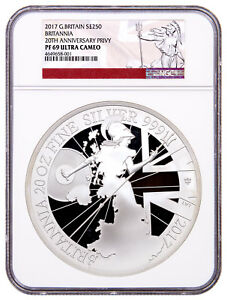 Click now to see the BUY IT NOW Price! 2017 GREAT BRITAIN 20 OZ. SILVER BRITANNIA 20TH ANNIV PRIVY NGC PF69 UC SKU52470