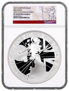 Click now to see the BUY IT NOW Price! 2017 G. BRITAIN 20 OZ. SILVER BRITANNIA 20TH ANNIV. PRIVY NGC PF70 UC SKU52487