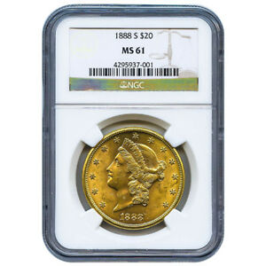 CERTIFIED US GOLD $20 LIBERTY 1888 S MS61 NGC