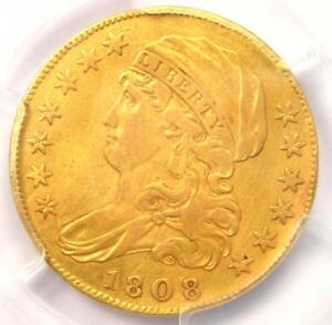 1808/7 CAPPED BUST GOLD HALF EAGLE $5 COIN   CERTIFIED PCGS XF DETAILS