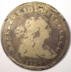 1798 DRAPED BUST SILVER DOLLAR $1   VG DETAILS  VERY GOOD     TYPE COIN
