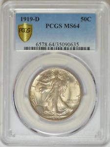 Click now to see the BUY IT NOW Price! 1919 D WALKING LIBERTY HALF DOLLAR   PCGS MS 64