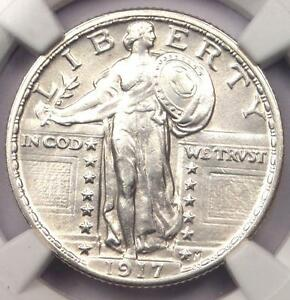 1917 T2 STANDING LIBERTY QUARTER 25C COIN   NGC UNCIRCULATED DETAILS  UNC MS