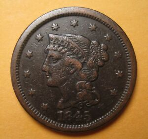 1845 BRAIDED HAIR LARGE CENT  N11 / R3   ORIGINAL & SHARP