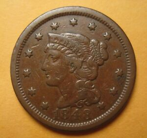 1848 BRAIDED HAIR LARGE CENT  N38 / R3   ORIGINAL & NICE