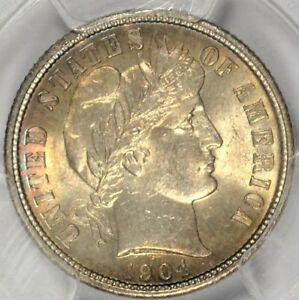 1904 BARBER DIME PCGS MS64 CAC GORGEOUS TONING  ASW0618