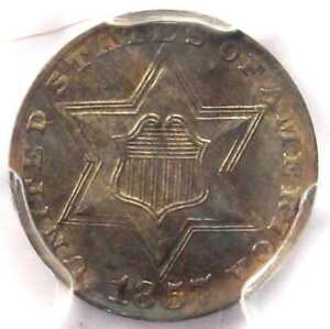 1857 THREE CENT SILVER PIECE 3CS   PCGS UNCIRCULATED DETAILS  MS     DATE