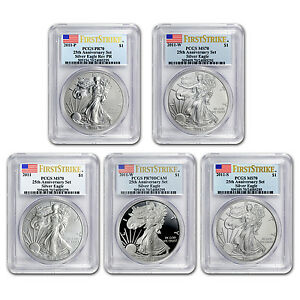2011 5 COIN SILVER EAGLE SET MS/PR 70 PCGS  FS 25TH ANNIV BL    SKU 66397