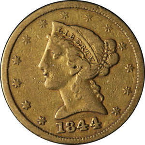 1844 P LIBERTY GOLD $5 NO MOTTO CHOICE VF GREAT EYE APPEAL NICE STRIKE