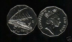 FIJI 50 CENTS KM54 1990 QUEEN SAILING BOAT UNC PACIFIC CURRENCY MONEY COIN