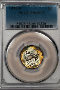 Click now to see the BUY IT NOW Price! 1945 D JEFFERSON NICKEL 5C PCGS MS 68 FS BRILLIANTLY TONED FULL STEPS  36192386