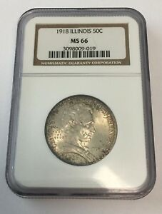 Click now to see the BUY IT NOW Price! 1918 NGC MS 66 ILLINOIS LINCOLN COMMEMORATIVE SILVER HALF DOLLAR   019
