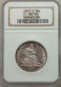 1877 S SEATED LIBERTY HALF DOLLAR NGC AU58   NEARLY MINT STATE
