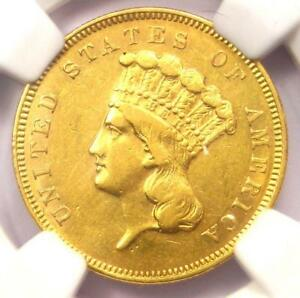 1856 S THREE DOLLAR INDIAN GOLD COIN $3   CERTIFIED NGC AU DETAILS    DATE