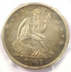 1847 O SEATED LIBERTY HALF DOLLAR 50C   CERTIFIED PCGS VF DETAILS    DATE