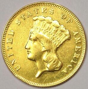 1869 INDIAN THREE DOLLAR GOLD COIN  $3    AU DETAILS    DATE COIN