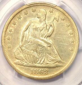 1862 S SEATED LIBERTY HALF DOLLAR 50C   PCGS AU DETAILS    CIVIL WAR DATE