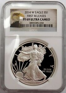 2014 W SILVER AMERICAN EAGLE PF69 UC NGC FIRST RELEASES   Z   NE