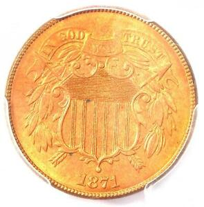 1871 TWO CENT PIECE 2C   PCGS UNCIRCULATED DETAIL  MS UNC     CERTIFIED COIN