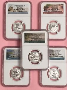 2018 S SILVER QUARTER REVERSE PROOF SET NGC PF70 EARLY RELEASE FLAWLESS SET