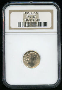 1950 S ROOSEVELT DIME SILVER 10C NGC MS 67