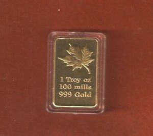 1 TROY OZ. BRASS INGOT GOLD PLATED 100 MILLS .999 GOLD C 03