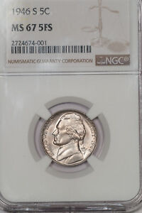 Click now to see the BUY IT NOW Price! 1946 S JEFFERSON NICKEL 5C NGC MS 67 5FS SHARP GEM FULL STEPS  2724674 001