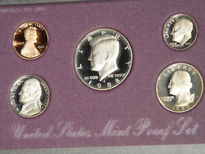 1988 S US MINT 5 COIN DEEP CAMEO PROOF SET COMPLETE WITH BOX  & COA 644S