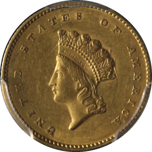 1855 P TYPE 2 INDIAN PRINCESS GOLD $1 PCGS AU53 GREAT EYE APPEAL NICE LUSTER