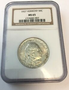 1927 NGC MS65 VERMONT COMMEMORATIVE SILVER HALF DOLLAR MS 65 007