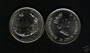 CANADA 25 CENTS KM381 2000 MILLENNIUM ROCKET COMMEMORATIVE UNC COIN