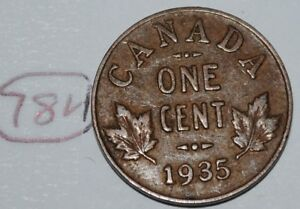CANADA 1935 1 CENT COPPER COIN ONE CANADIAN GEORGE V PENNY LOT 784