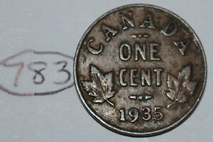 CANADA 1935 1 CENT COPPER COIN ONE CANADIAN GEORGE V PENNY LOT 783