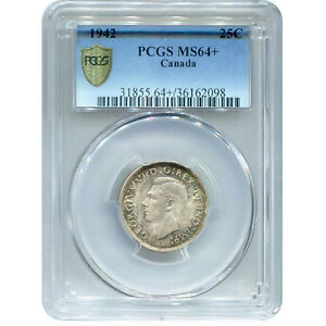 CANADA 25 CENTS SILVER 1942 MS64  PCGS