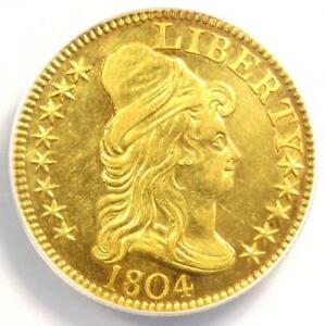 1804 CAPPED BUST GOLD HALF EAGLE $5   ANACS AU58 DETAILS    GOLD COIN